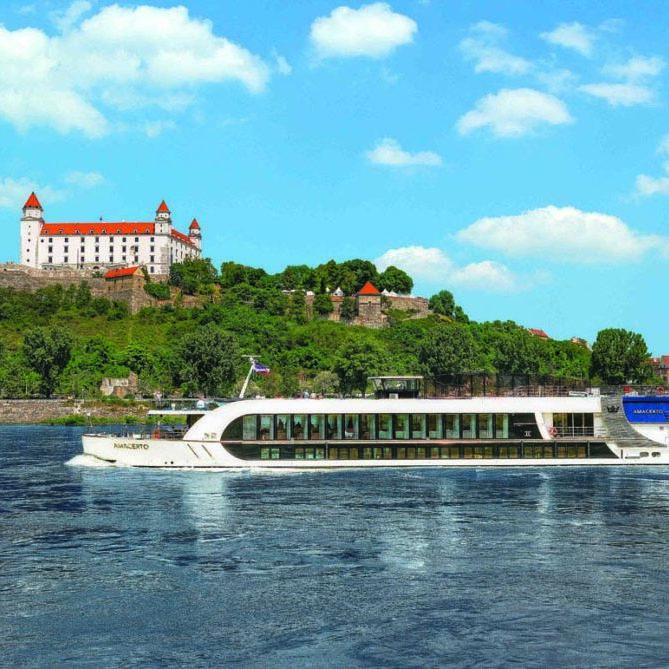 The Amacerto sailing into Bratislava