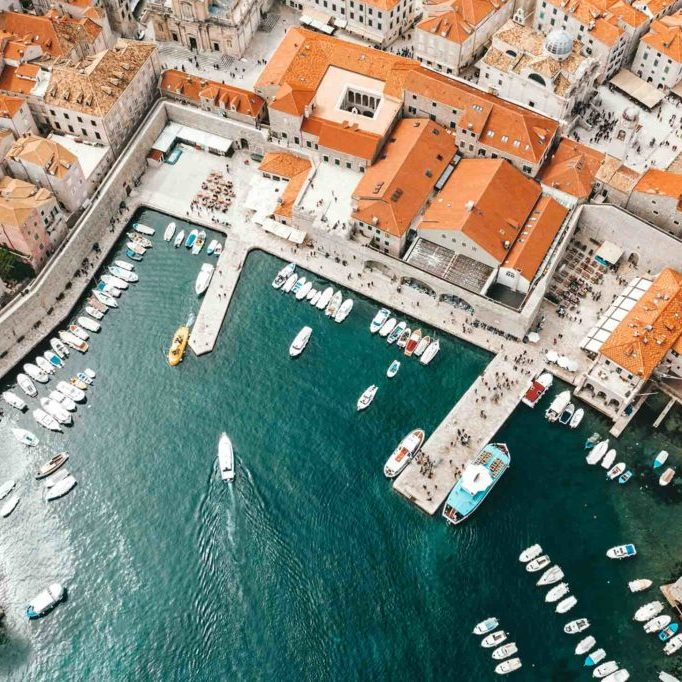 Birds' eye view of the harbour in Dubrovnik