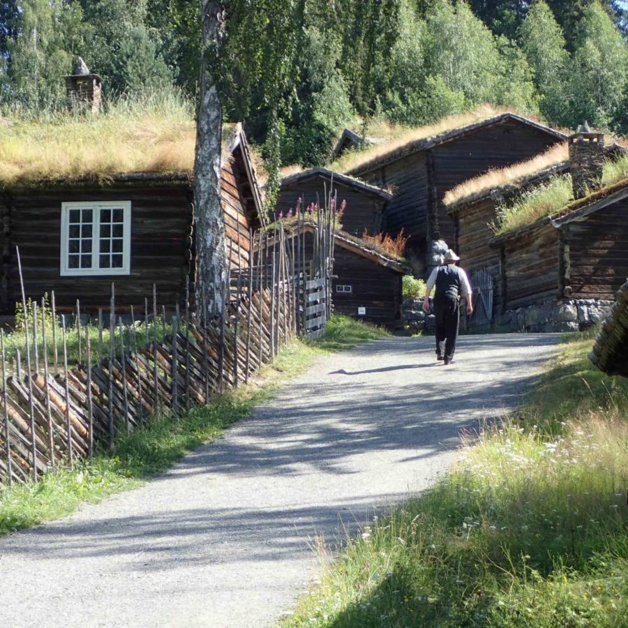 A farmer strolls down the road in Lillehammer. Picture: Peter Berg-Munch